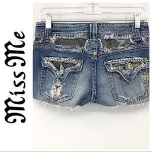 💕SALE💕 Miss Me Cut Off Denim Embellished Shorts
